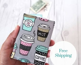 Coffee Wallet, Pink Wallet, Gray Slim Wallet, Small Women Wallet, Business Card Wallet, Credit Card Wallet, Credit Card Case, Gift Idea