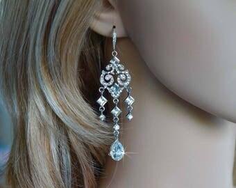 Vintage Inspired Crystal Rhinestone Chandelier Dangle Bridal Earrings, Bridal, Wedding (Sparkle-2688)