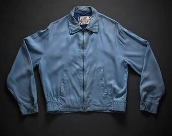 1950s Baby Blue Gabardine Zip Jacket XL
