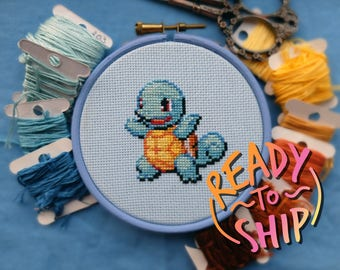 """Squirtle Pokemon Cross Stitch in 4"""" Hoop"""