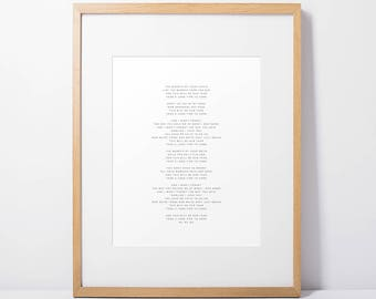 Custom Song Lyrics Art Print