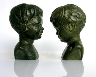 Mid Century / Pair of Boy & Girl Busts / Statue Set / Children Statues / Bronze Finish / Paridur / Paridon/ The Netherlands / Dutch / Marked
