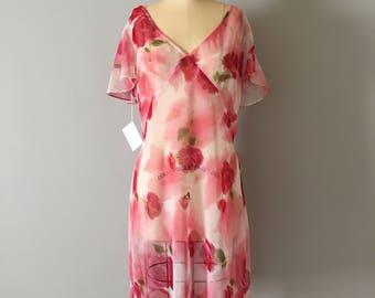 1990s sheer mini dress || muted flowers sheer dress