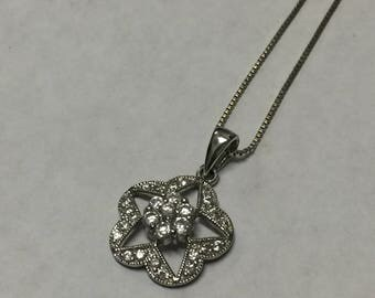 Sterling Silver Round Cubic Zirconia Star Pendant Necklace Signed ADI