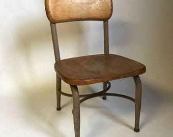 Vintage Children's Chair, Wooden Chair, Heywood Wakefield Chair, Kids Chair, Vintage School Chair, Metal and Wood Chair, Farmhouse Chair