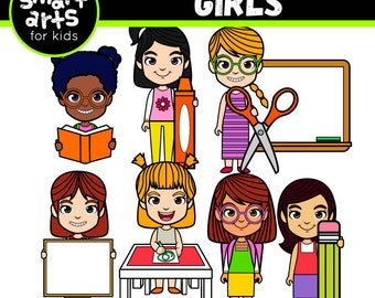 Back to School Girls Clip Art - school clipart - back to school - student clipart - SVG - Vector - png clipart - digital graphics