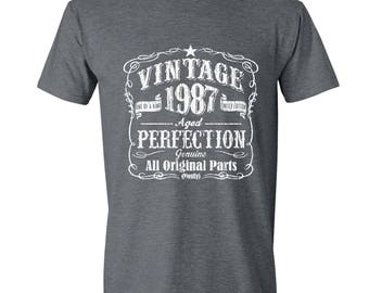 30th Birthday Gift, Dirty Thirty, 30 Years Old, Tshirt, Gift for 30 year old, 30th Birthday Shirt, Vintage, GRAY, 1987, Born in 1987