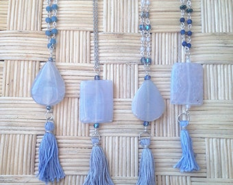 Fire Agate and Tassel Necklace