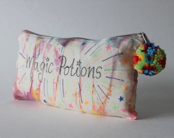 Magic Potions |Tie Dye Toiletry Zip Bag | Quote | Inspirational | Hippie Gift | Travel Gift | Birthday Gift | inspirational | Handmade