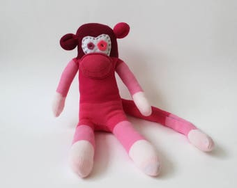 Harriot the Sock Monkey |Handmade, Soft Toy, Birthday Gift, Stripy Socks,Spare socks, Lost socks, Ombre Socks, unique gift, monkey mascot
