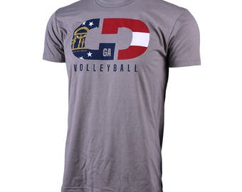 State Flag Logo: Georgia Volleyball Short Sleeve T-shirt, Volleyball Shirts, Volleyball Gifts, GA Volleyball - Free Shipping!