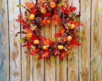 Fall Wreath, Front Door Wreaths, Autumn Wreaths, Thanksgiving Wreaths, Pumpkin Wreaths, Fall Leaves Wreaths, Front Porch Decor          W330