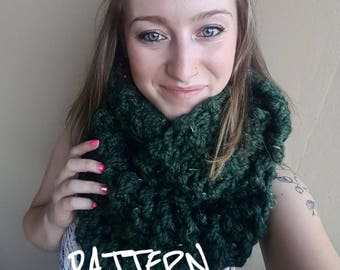 KNITTING PATTERN - The Killarney Infinity Scarf // Chunky infinity scarf, knit scarf, cozy winter scarf, double wrap scarf