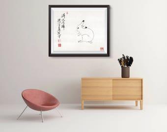 Year of the Rabbit, Chinese Rat print, Chinese zodiac Print, personalized gift, birthday gift, Asian art, Art Poster, poster wall art