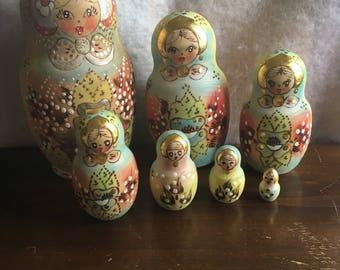 Set of 7 Vintage Russian Nesting Dolls