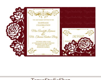 Wedding invitation template - SVG, DXF, ai, CRD, eps - Laser Paper Cut - Silhouette Cameo- Cricut - Instant Download 103