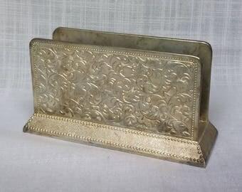 Silver Plated Napkin Holder, Vintage Silverplate Letter Napkin Holder, Desk Organizer, Letter Rack, Silver Plate Napkin Stand