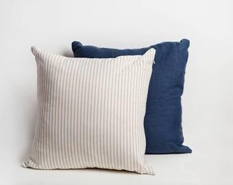 Tan Linen Pillow Cover, Tan, Linen Pillow Cover, Stripe Linen Pillow, Striped Pillow, Linen Pillow, Tan White Pillow, Farmhouse, Linen