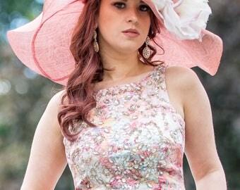 Large Pink Floppy Brim Hat With Silk Organza Flowers
