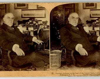 Stereoview Card, President McKinley, at the head of the Council Table, Cabinet Room, White House, Washington, U.S.A., Copyright 1900