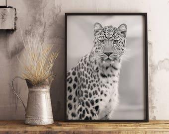 Leopard Print, Leopard Wall Art, Leopard Decor, Leopard Art, Leopard Poster, Nursery Animal Print Gift, Nature Print, Black and White