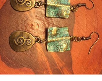 Chunky Green Patina Dangle Earrings