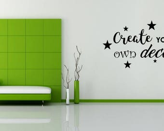 Create your own wall decal! You pick the font, images and size!
