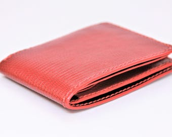 Men's Bifold Wallet Full Genuine Lizard (Red/Black)