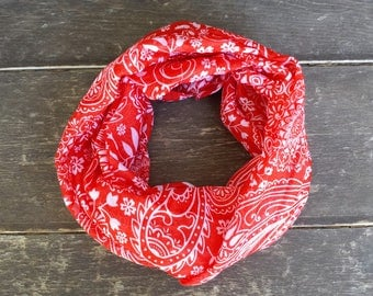 Patriotic Toddler Infinity Scarf | Red Baby Scarf | Child Scarf | Toddler Accessories | Little Girl Scarf | Party Favors | Paisley Scarf