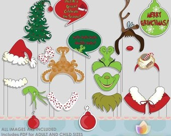 Grinchy Christmas Photo Booth Props for Christmas Party