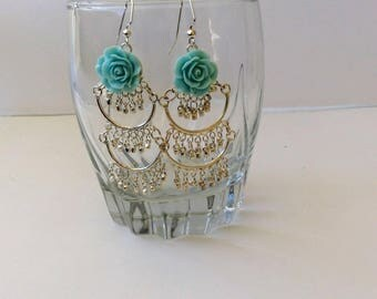 rose earrings, Frida earrings, arracadas, Mexican earrings, chandelier earrings, vintage earrings