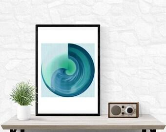 BLUE MOON - celestial lunar fine art print, galaxy, interior styling, design lover, modernist, dreamy, turquoise, colorlove moon ocean xmas