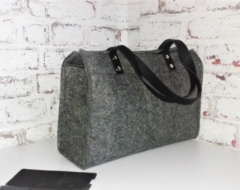 grey wool felt tote bag