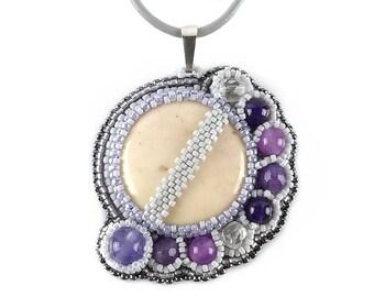 Bead embroidery Gemstone pendant necklace, Beadwork Beige Purple gemstone, Seed Bead embroidered Beaded Crystal Quartz Jade Jasper pendant