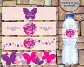 Butterfly Water Bottle Labels, Baby Shower Water Bottle Labels, Instant Download, Digital Download, Birthday Party Water Bottle Labels