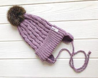 Pink Baby merino hat Organic baby clothes Baby reveal box Organic newborn hat Knit earflap hat Merino wool baby hat Woolen hat Crochet ear