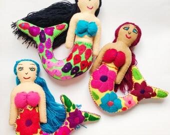 Mermaid doll, Felt mermaid doll, Mexican doll, Mexican mermaid, Mexican folk art, Embroidered stuffed doll, Handmade doll, Nursery decor