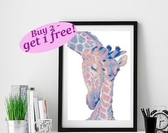 Mother's love cross stitch, modern baby cross stitch,giraffes cross stitch pattern, cross stitch family,nursery cross stitch pattern giraffe