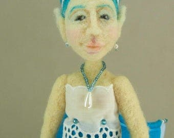 Needle felted art doll, Blue Fairy figure