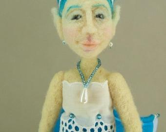 Needle felted art doll, Blue Fairy figure