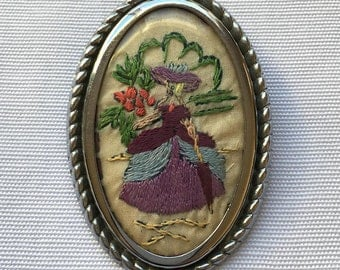 Vintage | Needlework | Hand-Embroidered | Victorian Woman | Brooch