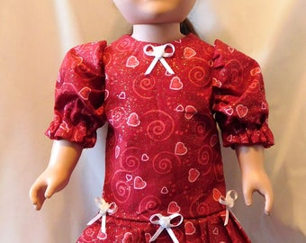 Valentine's Day Dress for 18 inch Dolls, American Girl, My Life, etc.