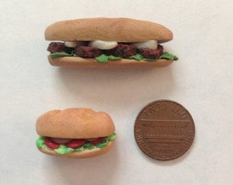 Miniature Dollhouse Sandwiches/Subs from Polymer Clay // Realistic Doll Food // Set of 2 // Subway // Deli
