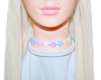 Rainbow Pasel Star Pearl Choker Beaded Necklace    Kawaii    Pastel Goth    Lolita    Harajuku