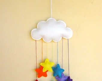 White felt cloud nursery mobile with a cascade of rainbow stars   can be personalised