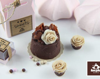 Dollhouse Miniature Cake - Dark Chocolate Cake with Roses in 1/12 dollhouse miniature scale.