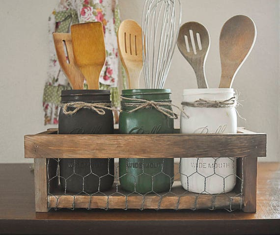 Farmhouse Mason Jar Kitchen Utensil Holder Rustic Kitchen