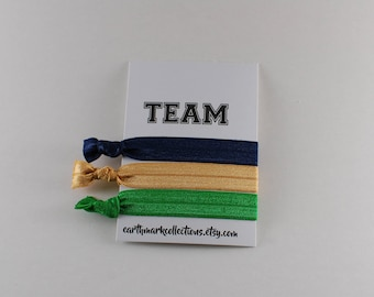 Team Hairties   Blue Gold Green   Set of 3 FOE Hair ties   College University Sports Hairbands   No Crease Football Ponytail holders