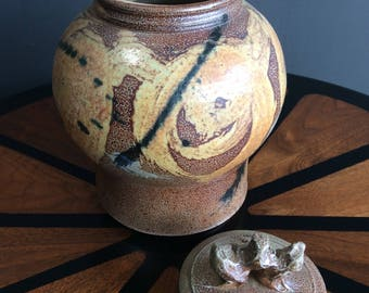 Lidded Stoneware Vessel