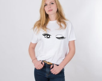 Eyes Shirt Women Shirt Eye Lash Shirt Women Clothing Eyes Pattern Tee Fashion Shirt White and Black Shirt Women Top Unisex Shirt PA1222